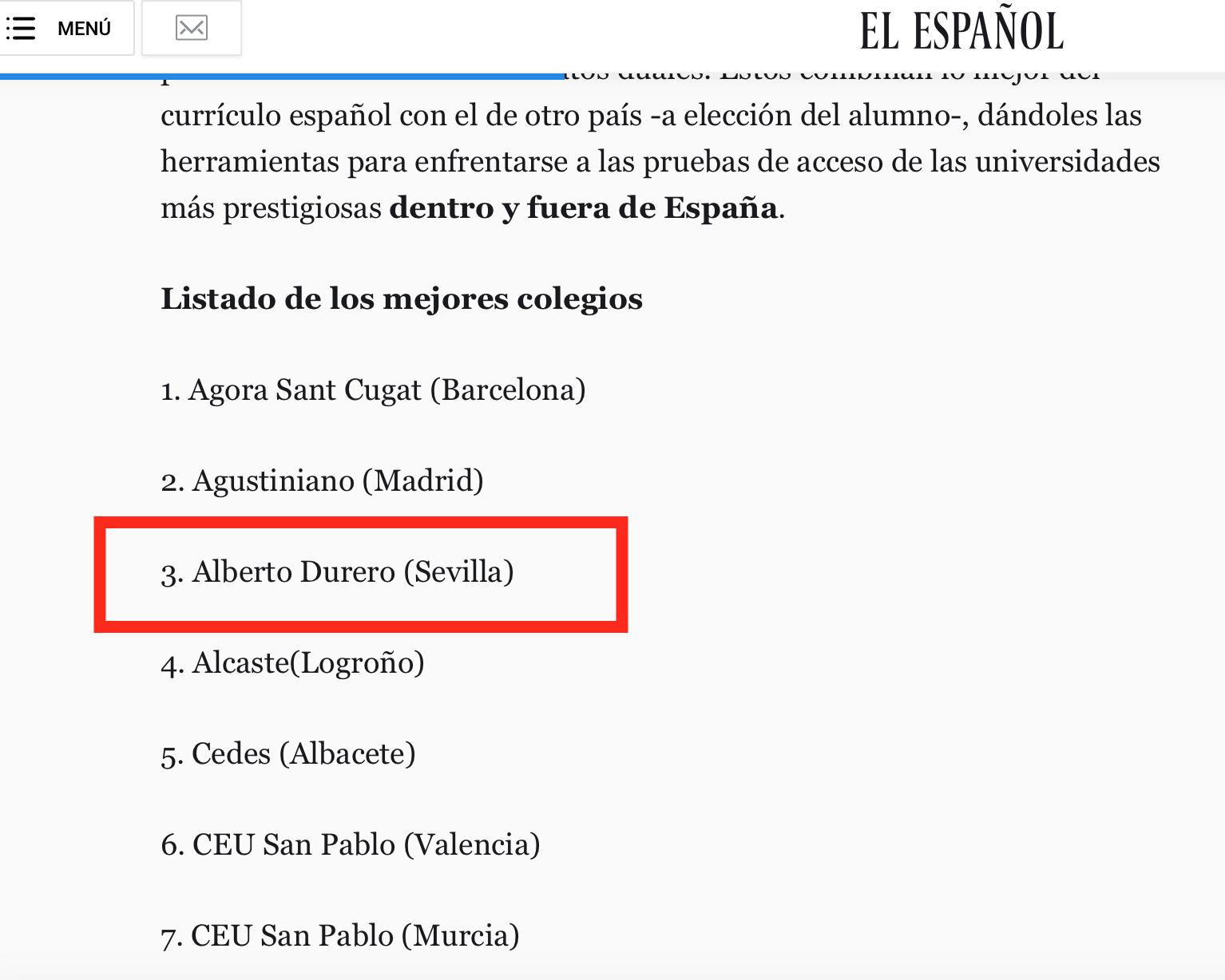 EN EL TOP SEGÚN EL RANKING DE COLEGIOS DE EL ESPAÑOL 2018