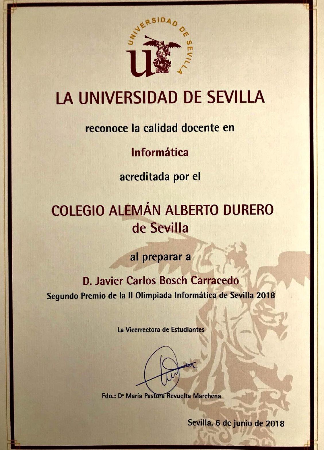 RECONOCIMIENTO DE LA UNIVERSIDAD DE SEVILLA AL COLEGIO ALEMÁN ALBERTO DURERO