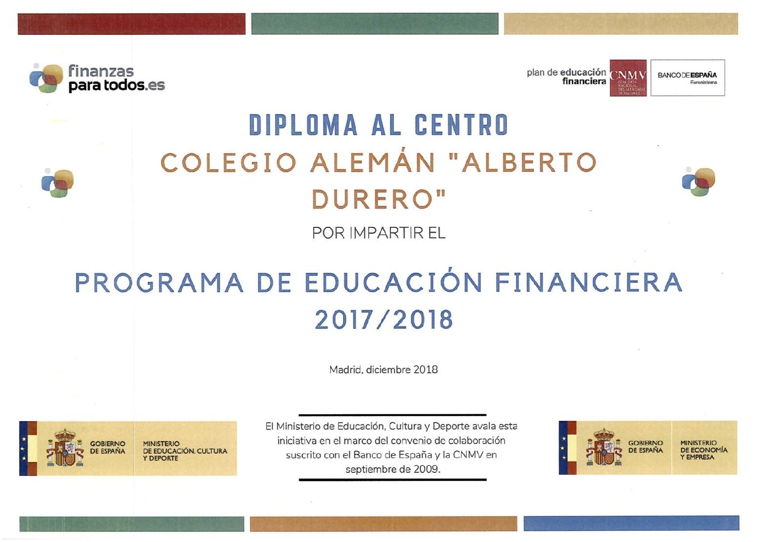 EL COLEGIO ALEMÁN SEVILLA DENTRO DEL  PROGRAMA DE EDUCACIÓN FINANCIERA DEL BANCO DE ESPAÑA