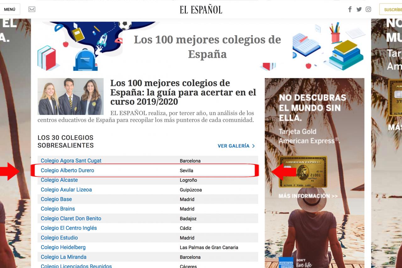 COLEGIO ALEMÁN SEVILLA, EN EL TOP PARA EL  DIARIO EL ESPAÑOL