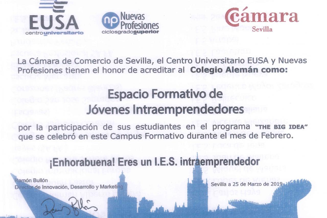 COLEGIO ALEMÁN SEVILLA, ESPACIO FORMATIVO DE JÓVENES INTRAEMPRENDEDORES